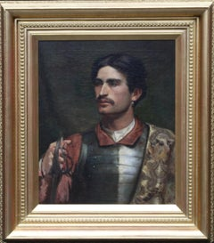 Portrait of a Cavalier - Scottish art Victorian Realist military oil painting