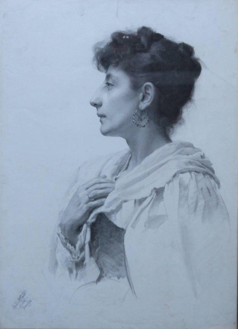 Portrait of a lady british victorian art female portrait realist pencil drawing for sale 1
