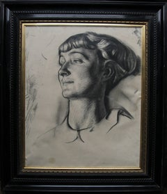 Portrait of a Young Woman - 1930's art deco portrait drawing British artist