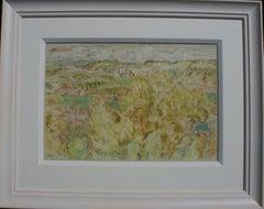 Crichton Castle Scotland - Scottish art 1960's painting landscape trees ruins