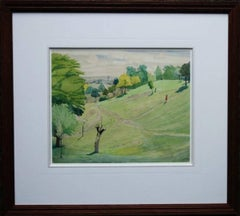 Hampstead from Parliament Hill - 30's Irish artist landscape London trees