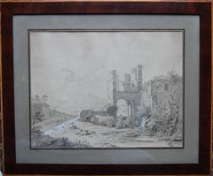 Italian Capriccio Landscape - German Old Master art watercolour painting