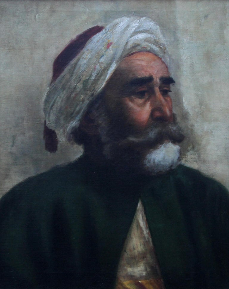 Portrait of an Oriental Man - Arab Head - Orientalist art oil painting  - Painting by Turkish School