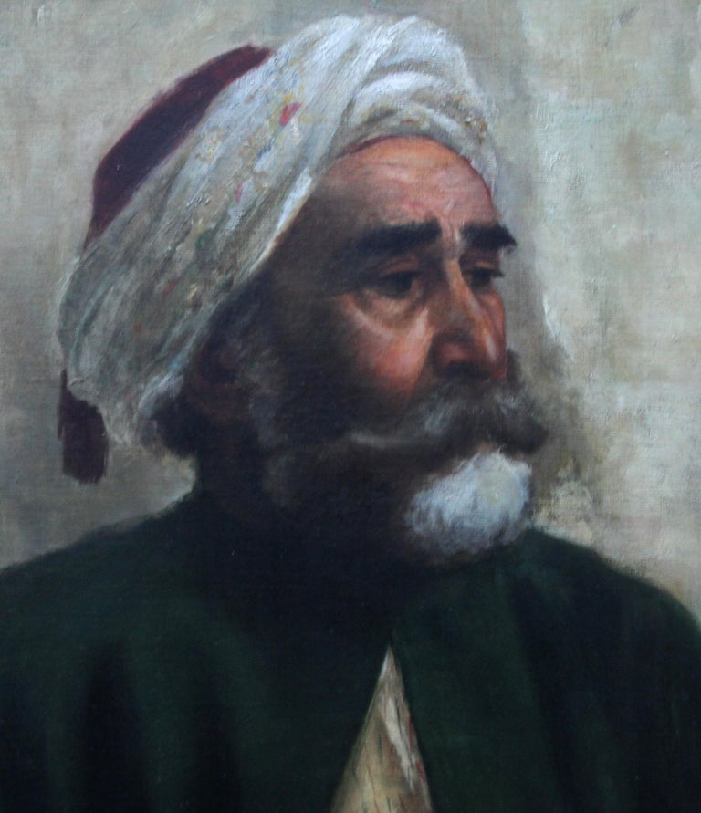 Portrait of an Oriental Man - Arab Head - Orientalist art oil painting  - Realist Painting by Turkish School