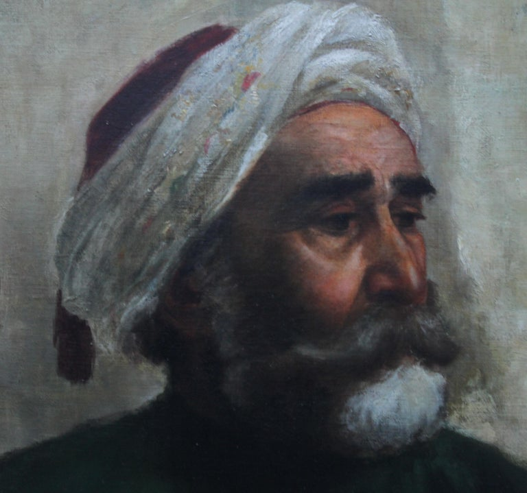 Portrait of an Oriental Man - Arab Head - Orientalist art oil painting  - Black Portrait Painting by Turkish School