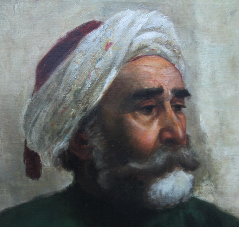 Portrait of an Oriental Man - Arab Head - Orientalist art oil painting  For Sale 1