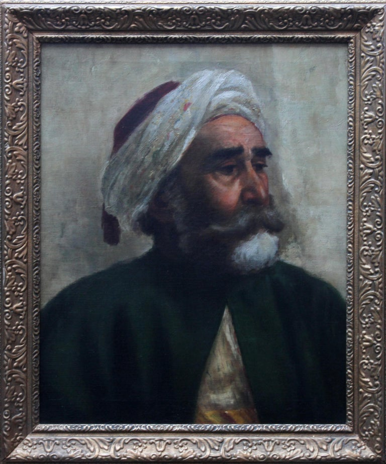 Portrait of an Oriental Man - Arab Head - Orientalist art oil painting  For Sale 3