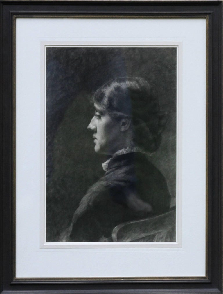 Portrait of a Lady - Pre-Raphaelite Victorian drawing seated young woman  - Art by Unknown