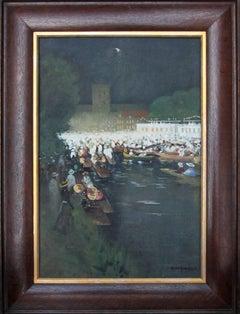 Henley Regatta - Edwardian Scottish Impressionist oil painting Thames nocturne