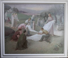The Entombment - British art 30's oil painting religious landscape Jesus angels