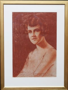 Portrait of a Lady - Roaring twenties art female portrait chalk drawing