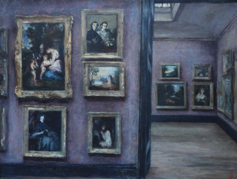 The National Gallery - British 20's art interior oil painting suffragette artist - Painting by Lily Delissa Joseph