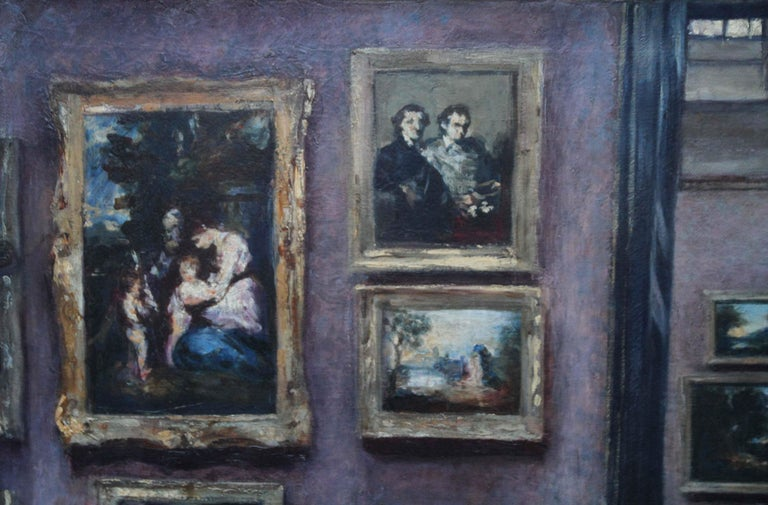 The National Gallery - British 20's art interior oil painting suffragette artist - Impressionist Painting by Lily Delissa Joseph