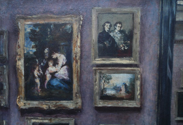 The National Gallery - British 20's art interior oil painting suffragette artist For Sale 1