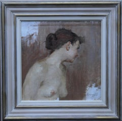 Female Nude Profile Study - 1920's British Jewish art portrait oil painting