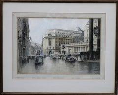 The City of London - British 40's art Threadneedle Street Bank Stock Exchange
