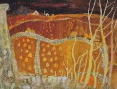 View Across Farmland - Scottish 20thC Expressionist art landscape painting gold