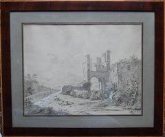 Italian Capriccio Landscape - German Old Master art watercolour painting