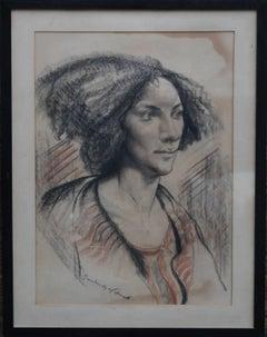 Portrait of a Lady - British art Post Impressionist 40s drawing female portrait