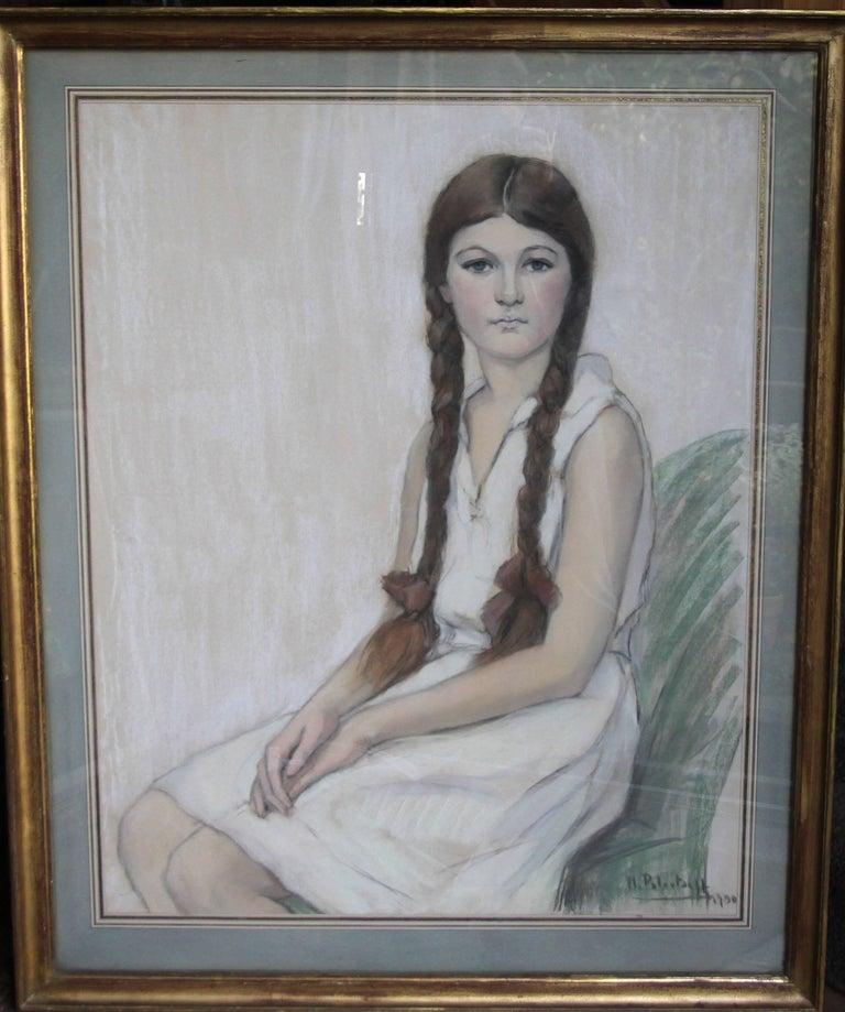Irene Chisan Denbigh - Russian Art Deco female portrait drawing female artist 1
