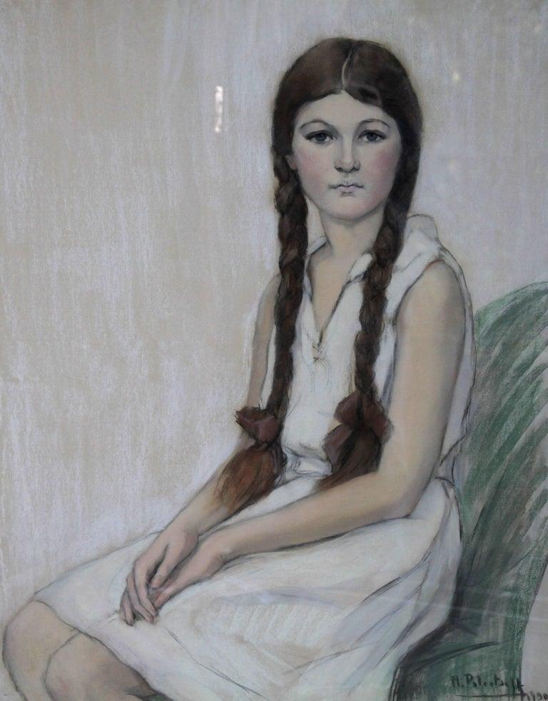 Irene Chisan Denbigh - Russian Art Deco female portrait drawing female artist 2
