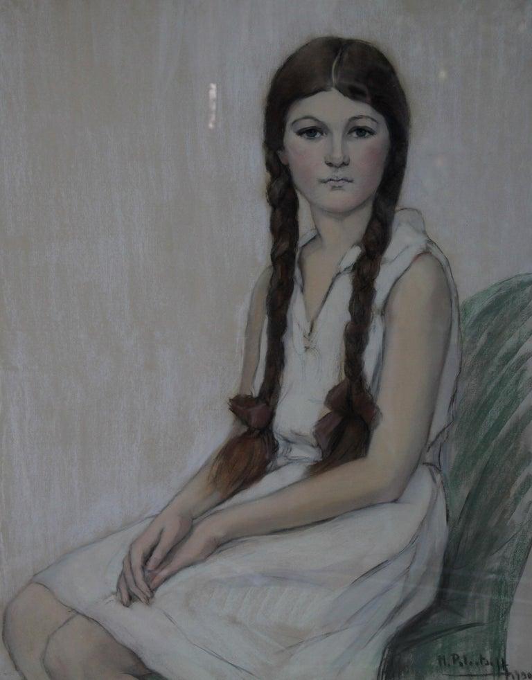 Irene Chisan Denbigh - Russian Art Deco female portrait drawing female artist 10