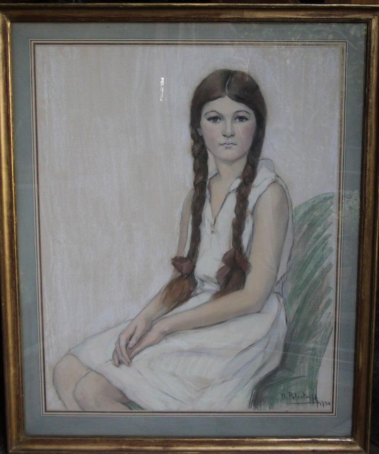 Irene Chisan Denbigh - Russian Art Deco female portrait drawing female artist 11