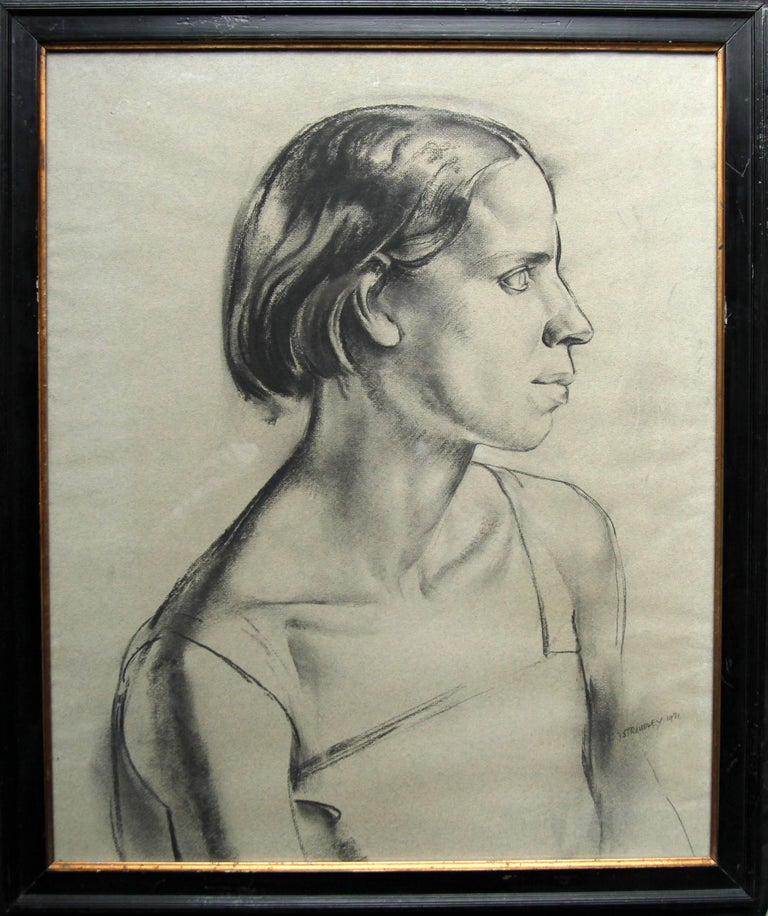 Portrait of a Young Woman - Art Deco charcoal pencil drawing 1