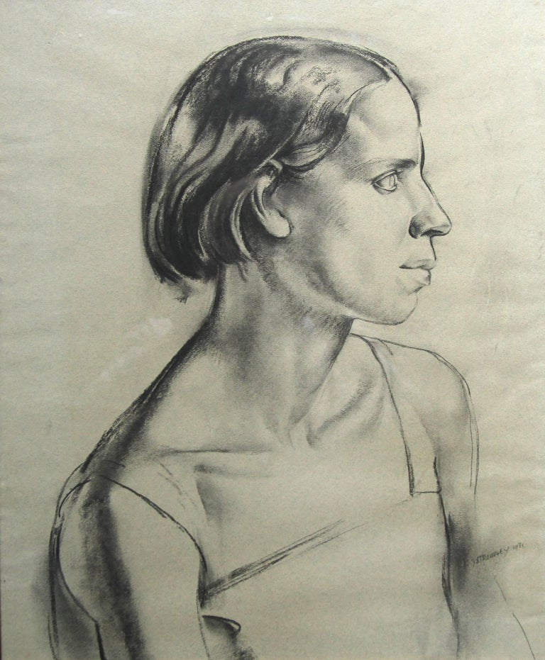 Portrait of a Young Woman - Art Deco charcoal pencil drawing 2