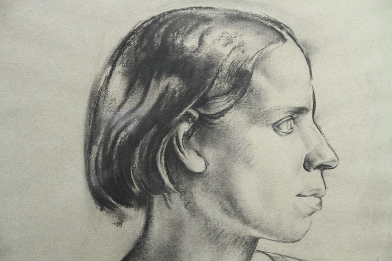 Portrait of a Young Woman - Art Deco charcoal pencil drawing 3