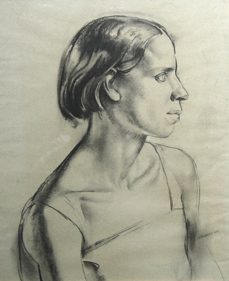 Portrait of a Young Woman - Art Deco charcoal pencil drawing 6