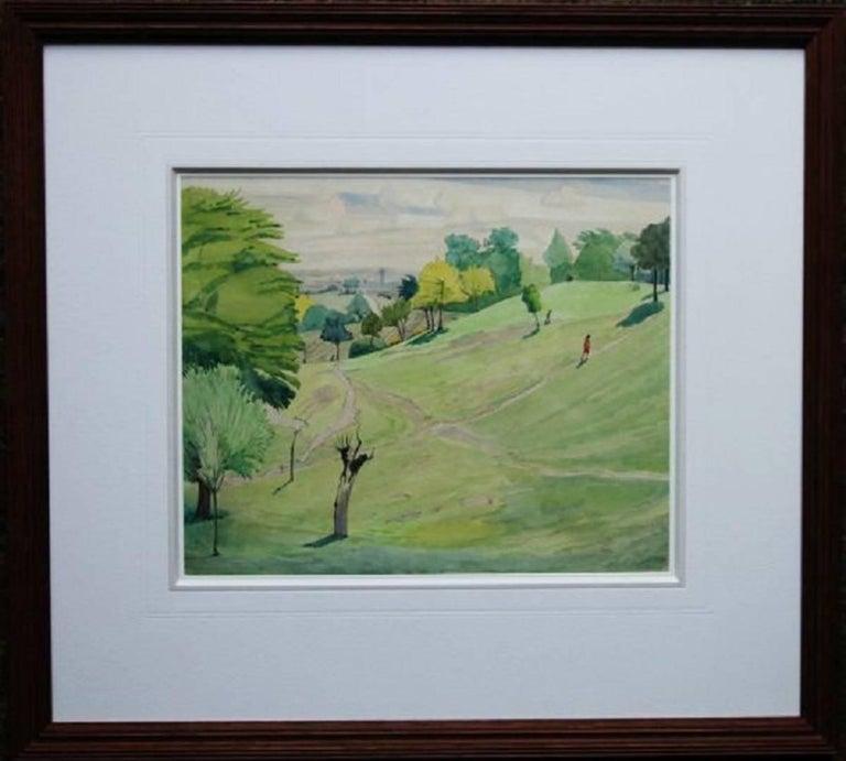 Hampstead from Parliament Hill - 30's landscape Irish artist London parklands 1