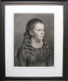 Portrait of Young Girl -Victorian British portrait pencil drawing Pre-Raphaelite