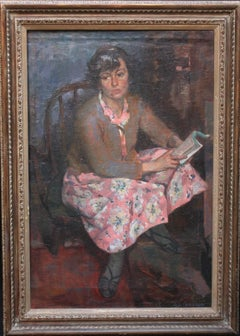 Portrait of a Young Woman in a Pink Dress Reading - Scottish Post Impressionist