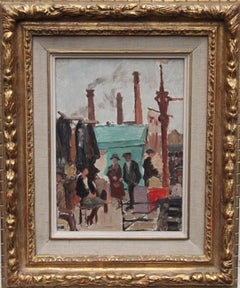 Caledonian Market Islington London - British Impressionist art 30's oil painting