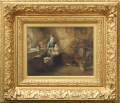 Feeding Time - 1890 Scottish Victorian genre art cottage interior oil painting