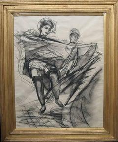 Can Can Dancers - British Art Deco drawing Burlesque women dancers