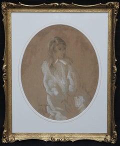 Portrait of a Lady -  1920's Art Deco chalk pastel drawing