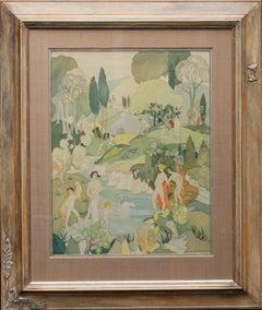 The Bathers - British Art Deco exhibited figurative landscape watercolour silk