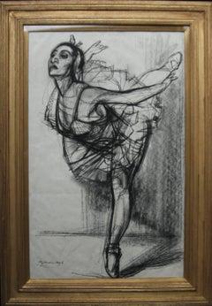 Ballet Dancer - British Art Deco drawing ballerina woman dancing good provenance