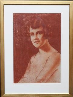 Portrait of a Lady - Roaring twenties art female portrait chalk drawing