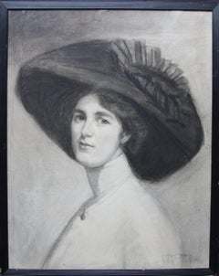 Portrait of Decima Moore - Actress & Suffragette Edwardian drawing female artist
