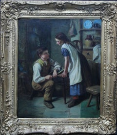 The Marriage Proposal - British Victorian art romantic interior oil painting