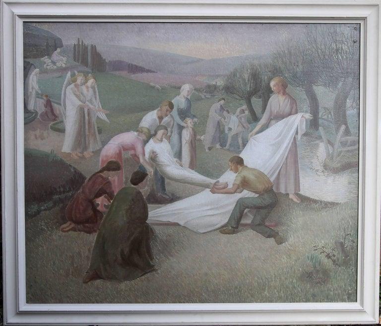 The Entombment - British art 30's oil painting religious landscape Jesus angels 1