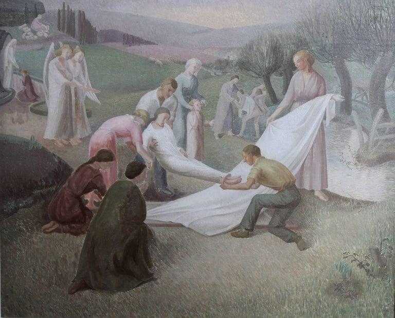 The Entombment - British art 30's oil painting religious landscape Jesus angels 2