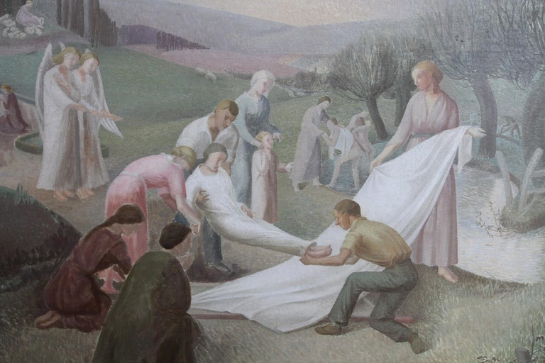 The Entombment - British art 30's oil painting religious landscape Jesus angels 3