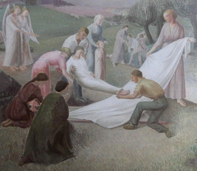 The Entombment - British art 30's oil painting religious landscape Jesus angels 4