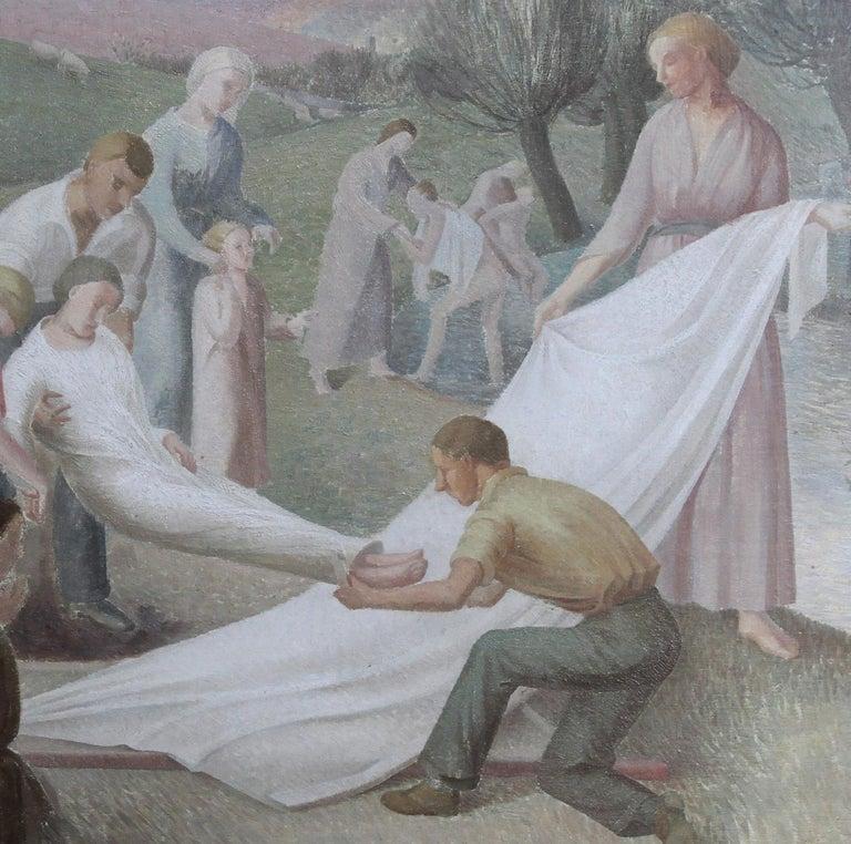 The Entombment - British art 30's oil painting religious landscape Jesus angels 5