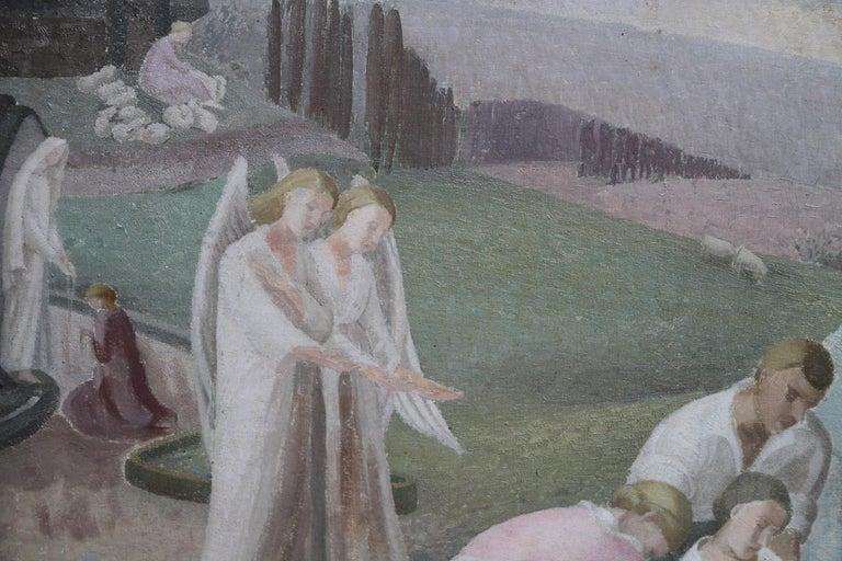 The Entombment - British art 30's oil painting religious landscape Jesus angels 6