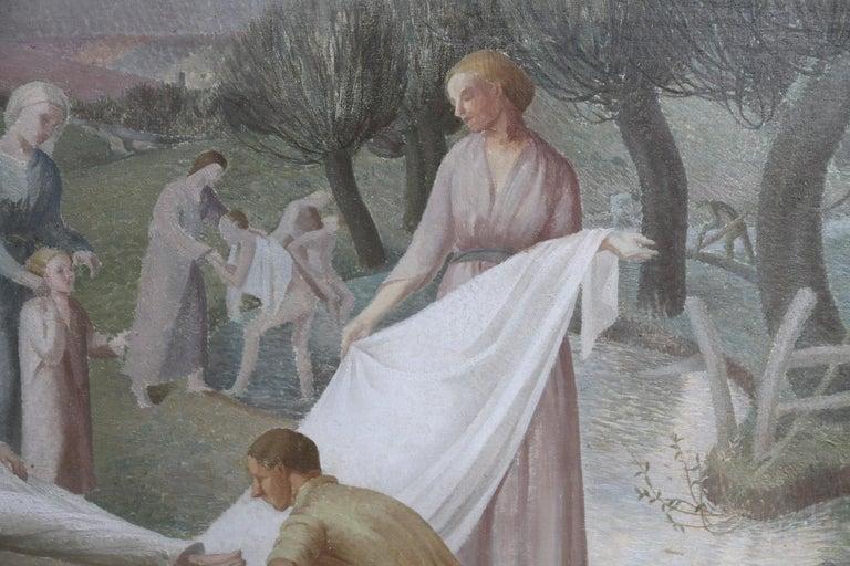The Entombment - British art 30's oil painting religious landscape Jesus angels 7